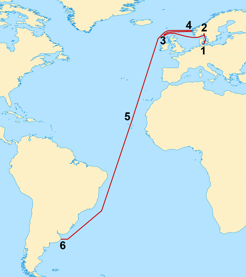 Fantastic Voyage Of The U Part - Us to brazil by boat map